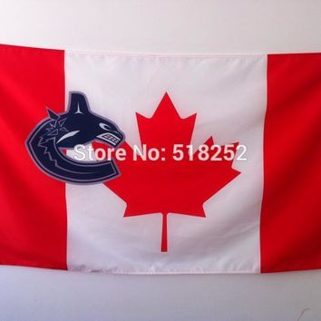 NHL Vancouver Canucks Flag with Canada- Flag Banner  3x5 FT 150X90CM Flag100D Polyester flag 1123, free shipping