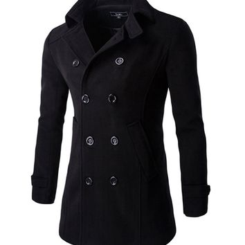 Streetstyle  Casual Lapel Double Breasted Men Coat