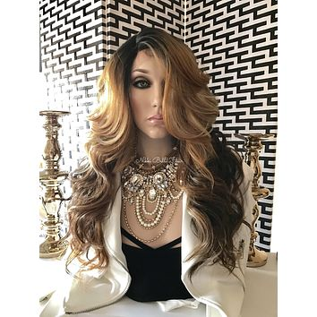 Balayage Blond Human Hair Blend Multi Parting Lace Front Wig - Baltimore