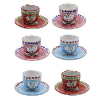Vietri Chicks & Pigs Six Espresso Cup Set With Plate