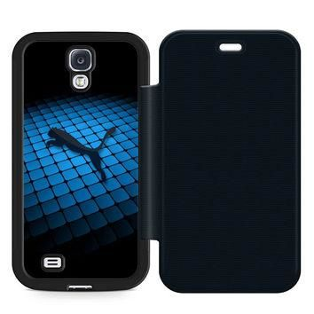 Puma Logo In Blue Leather Wallet Flip Case Samsung Galaxy S4