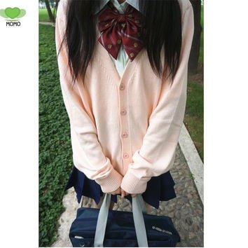 hot sale good quality new Fashion autumn japanese style students school uniform long sleeve girl women open school cardigan