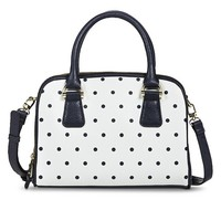 Women's Polka Dot Print Satchel Handbag - White