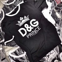 """""""Dolce & Gabbana"""" Women Casual Letter Pattern Print Multicolor Short Sleeve Round Neck T-shirt Top Tee"""