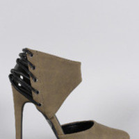 Women's Qupid Strappy Ankle Cuff Pump
