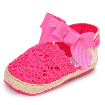 4 Colors Crochet Baby Girl Sandals Hollow Out Anti Slip Infant Girl Sandals With Butterfly-knot
