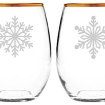 Snowflakes Gold Rimmed Stemless Wine Glass - Set of 4