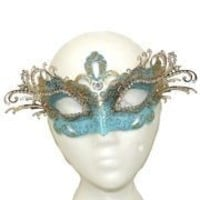 Venetian Masks: Light Blue and Gold Laser Cut Mask