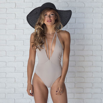 Flock Of Seagulls One Piece Swimsuit In Nude