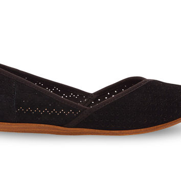 TOMS Jutti Flat Women Black Suede Perforated