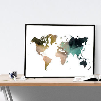 World map watercolor wall art, map poster, art print, office decor, home wall decor, painting, apartment wall art, modern print,