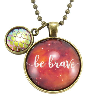 Be Brave Necklace With Dragon Scale Charm