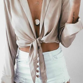 Apricot Midriff Plunging Neckline Long Sleeve Fashion Blouse