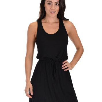 Lyss Loo At Ease Waist Tie Black Tank Dress