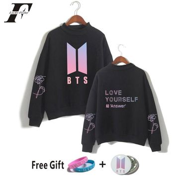 BTS 2018 BTS kpop hoodies SweatshirtS Bangtan Boys K-pop bts Love Yourself Answer Capless Turtleneck Oversize Casual Clothes 4XL