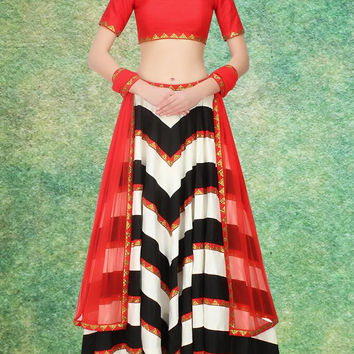 Women's Raw Silk Fabric & Black Pretty Circular Lehenga Style