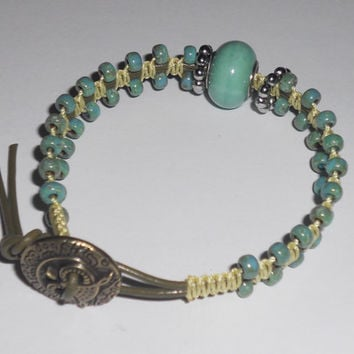 MACRAME BEADED BRACELET- Yellow C-Lon w/Seafoam Green Beads on Greek Leather w/Owl Button Single Wrap - Beaded Jewelry - Micro Macrame
