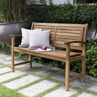 4-Ft Outdoor Wooden Garden Bench with Horizontal Slat Back and Armrests