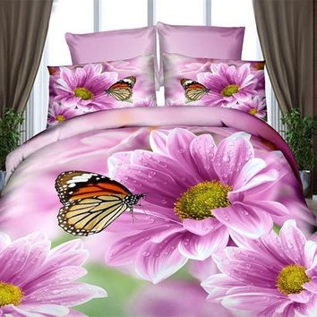 Cool 4 PCS 3d bedding sets comforter bedclothes duvet cover set winter bedsheet queen king size Bedlinen flower print HomeTextilesAT_93_12