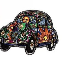 Artist Dan Morris Hippie VW Bug Flower Power Embroidered Iron On Patch
