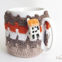 Cozy Mug Coffee, Mug Warmer, Brown earth color color, House Artisanal Ceramic button, sweater Tea Sleeve Cover Crochet Wool Ooak