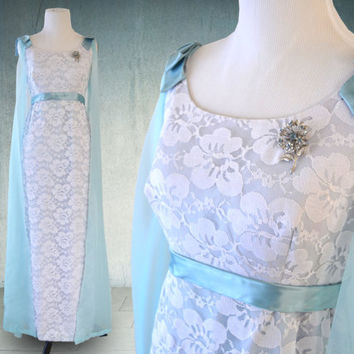 1960s Ice Blue Evening Gown Frozen Dress Prom Homecoming