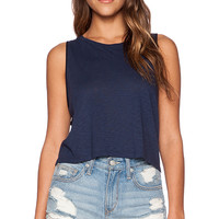 LACAUSA Dad's Crop Tank in Navy