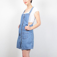 Vintage 90s Dress Pinafore Blue Jean Jumper Soft Grunge Overalls Dress 1990s Dress Overall Mini Dress Denim Overalls Dungarees XS S Small M