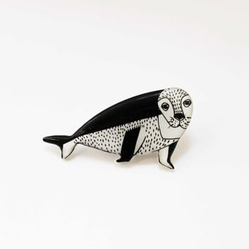 Free shipping Animal pin clay seal Cute fur - seal, gift under 25