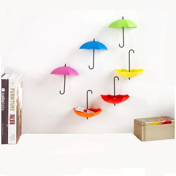 6PCS/Set Colorful Umbrella Shape Wall Hooks Umbrella Shape Wall Decor Racks Wall Organizer Containers for Kitchen Bathroom