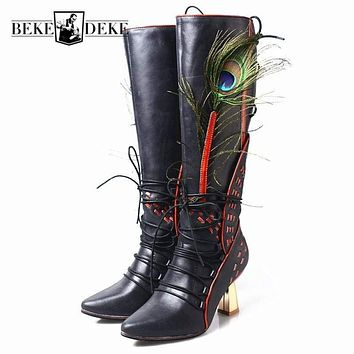 Fashion Runway Peacock Feather Genuine Leather High Boots Women 2019 New High Heel Pointed Toe Winter Lace Up Ladies Boots Shoes Macchar Cosplay Catalogue