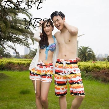 DKLW8 Rainbow Printing Female Couple Beach Casual Shorts Female Vacation Beach Quick-drying