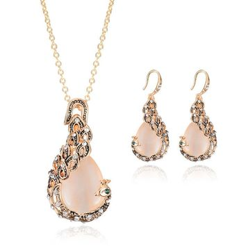 Rose Gold Crystal Women Super Flash Rhinestone CatEye Peacock Pendant Necklace Earrings Wedding Jewelry Sets