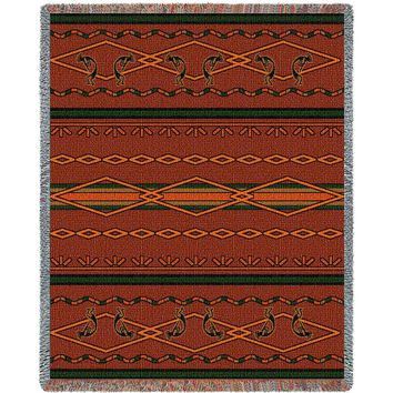 SOUTHWEST RUSSET AND GREEN AFGHAN THROW BLANKET