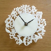 Modern Wall Clock - It's My Forest - Ivory Acrylic