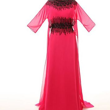 Pink Chiffon Scoop Prom Dresses Black Beads Long Prom Dresses Muslim Women Gown