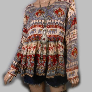 Vtg 70s Gauzy India Ethnic Boho Indie Hippie Festival Gypsy Bohemian Peasant Elephant Floral Babydoll Swing Mini Dress Top Tunic Shirt