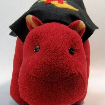 Harvey the Super Hero Hippopotamus, small, mini, stuffed animal, plush, fleece