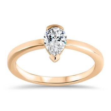 Half Bezel Moissanite Engagement Ring Pear Shaped Solitaire Engagement Ring - Gabriella