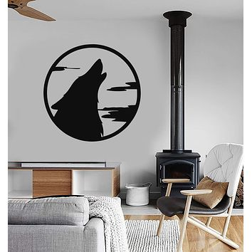 Wall Stickers Vinyl Decal Moon Wolf Howl Animal Werewolf Unique Gift (ig258)