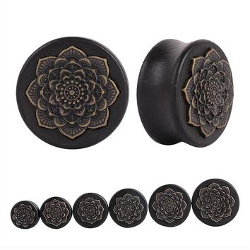PAIR Ear Gauges Plugs Piercing Ear Expander Natural Wooden Plugs Mandala Flower Gauges Flesh Ear Tunnels Body Piercing Jewelry
