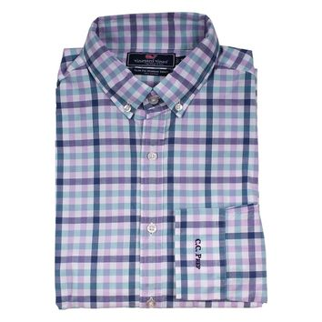 Custom Triggerfish Gingham Slim Murray Shirt in Crocus by Vineyard Vines