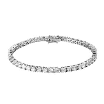 Fashion 4mm Solitaire 14k White Gold Finish Fashion Tennis Link Bracelet
