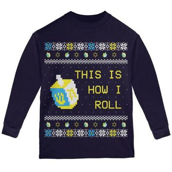 ONETOW Hanukkah This is How I Roll Dreidel Ugly Christmas Sweater Youth Long Sleeve T Shirt