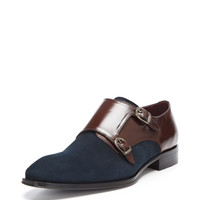 Suede and Leather Double Monkstrap Shoes