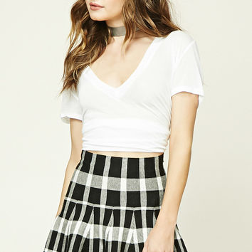 Plaid Flared Mini Skirt