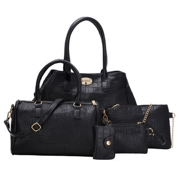 5pcs Faux Crocodile Embossed Leather Bag Set | MakeMeChic.COM