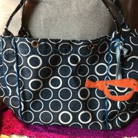 Handbag Thirty-One Navy & White Multi Circle Bird Canvas XL Shoulder Bag Purse