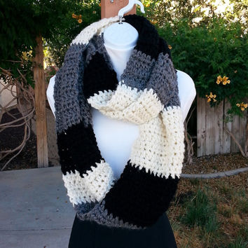 Large OOAK Infinity Scarf, Oversized Loop Cowl, Black Cream Gray Grey Color Block Bulky Wide Big Soft Crochet Knit Winter..Ready to Ship