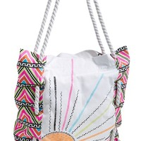 Rip Curl Print Canvas Beach Bag (Juniors)